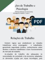 Aula 2 - Relações de Trabalho e Psicologia