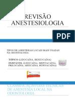 ANESTESIOLOGIA resumo e slide para fixação