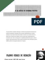 Apresentação 1 - plano expositivos da crítica da economia política