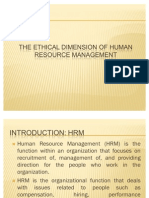 The Ethical Dimension of Human Resource Management