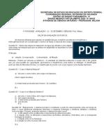 1ª ATIVIDADE - AVALIAÇÃO - 21 - 25 SETEMBRO CIÊNCIAS- Prof. Wilson