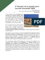 Los Retos Del Turismo en La Agenda Para Un Desarrollo Sostenible 2030