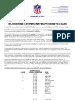 2011 Compensatory NFL Draft Choices