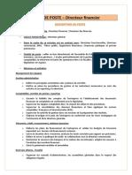 FICHE DE POSTE – Directeur financier
