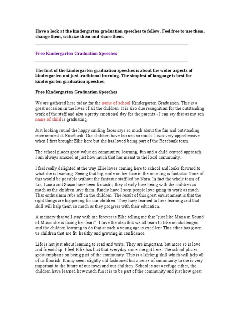 Graduation Speeches | Curiosity | Kindergarten