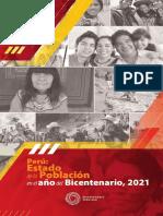 Perú Estado de la Poblacion Bicentenario INEI