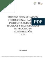 Modelo de Evaluación Institucional Para Los Institutos Superiores Técnicos y Tecnológicos 2020