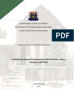 Advincula, Charya Charlortte Bezerra - Processo de Escolarização em PrincesaPB-Política em Educação (1920-1939)