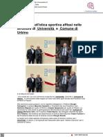 I principi dell'etica sportiva affissi nelle strutture del Comune e dell'Università di Urbino - Vivereurbino.it, 14 luglio 2021