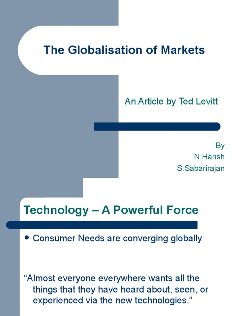 ted levitt globalization of markets
