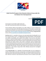 Letter from the European Union Domestic Advisory Group under the EU-Vietnam Free Trade Agreement
