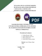 ANALISIS FINANCIERO CONFORME AL PLAN CONTABLES GENERAL EMPRESARIAL (PCGE), METODOS DE ANALISIS VERTICAL Y HORIZONTAL PDF