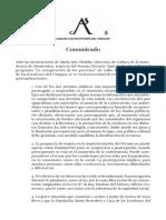 Comunicado Premio Juan Carlos Onetti 2021