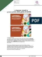Università e imprese, lunedì la presentazione della guida - Vivereurbino.it, 15 luglio 2021