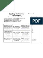 Spelling Tic Tac Toe Homework Modified
