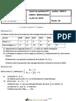 Devoir de Synthèse N°1 - Math - 3ème Economie & Gestion (2017-2018) Mr Darwaz