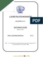 Devoir de Synthèse N°1 (Lycée pilote) - Math -  3ème Tech (2010-2011) Mr benzina