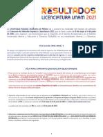 Resultados licenciatura UNAM 2021