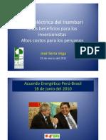 Hidroeléctrica del Inambari. Altos beneficios para los inversionistas. Altos costos para los peruanos  por Ing.José Serra Vega