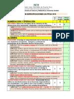 Tabla de Especificaciones UG PPAA