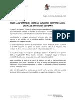 TARJETA INFORMATIVA - FALSA LA INFORMACIÓN SOBRE LAS SUPUESTAS COMPRAS PARA LA OFICINA DE JEFATURA DE GOBIERNO