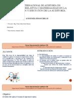 NIA 320 IMPORTANCIA RELATIVA O MATERIALIDAD EN LA PLANIFICACIÓN Y EJECUCIÓN DE LA AUDITORÍA