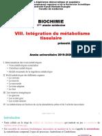 Intégration du métabolisme tissulaire