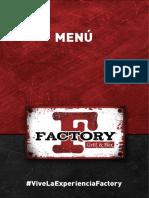 Menú Factory Grill&Bar