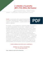 El delito de colusión y la prueba indiciaria RN 1722-2016, Del Santa