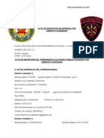 ACTA DE RECEPCIÓN DE DETENIDO POR ARRESTO CIUDADANO