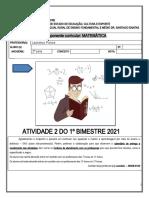 2ª série - AP2 - MATEMÁTICA Leonésio - Nivelamento - Função quadrática e espaço amostral