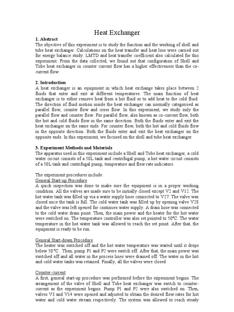 Heat Exchanger Lab Report Heat Exchanger Heat