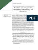 Necesidad de prevencion, promocion e intervencion en salud mental en el Perú