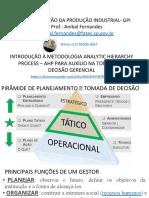 Introdução à metodologia Analytic Hierarchy Pprocess – AHP