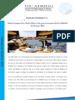 Synthèse de la 39ème Sommet des Chefs d'Etat et de Gouvernement de la CEDEAO