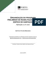 Organização do programa preliminar de reabilitação de um edifício de habitação  aplicação a um caso