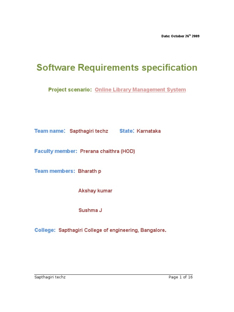 Online Library Management System Srs Java Server Pages Databases