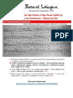 Partituras Solenidade de Sao Pedro e Sao Paulo Ano b - Missa Do Dia 04-07-2021 1