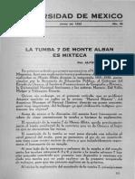 CASO, Alfonso - La tumba 7 de Monte Albán es mixteca. 1932