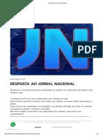 Instituto Força Nacional Resposta ao Jornal Nacional