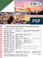 Calendario Fiestas 5781 - hebreo judio