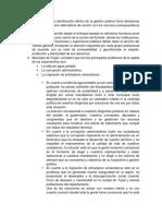 PLAN DE DESARROLLO, PROCESO DE PLANIFICACION