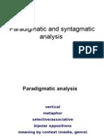 Paradigmatic and syntagmatic analysis