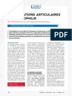 rhumatologie complication articulaires hémophilie