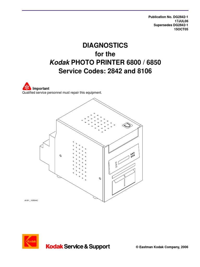 diagnostic printer 68xx power supply printer computing rh scribd com Kodak Photo Printer 6850 kodak 6800 service manual pdf