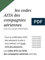 Liste Des Codes AITA Des Compagnies Aériennes — Wikipédia