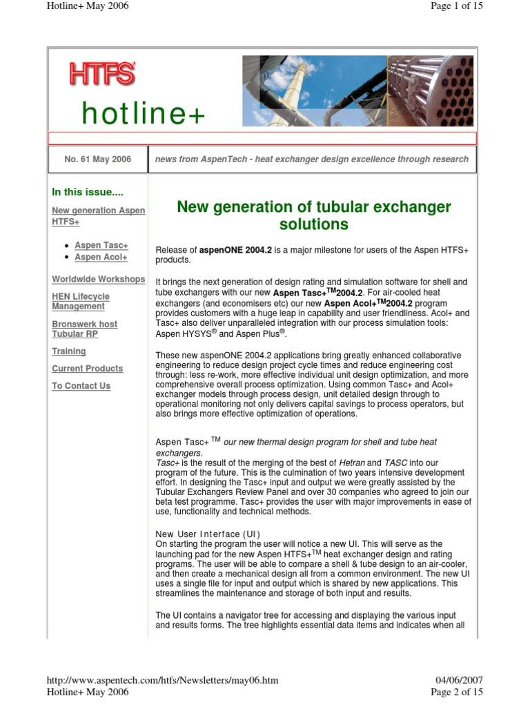 Aspen Htfs Heat Exchanger User Interface