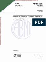 NBR 16280 de 2020 - Reforma Em Edificações — Sistema de Gestão de Reformas — Requisitos