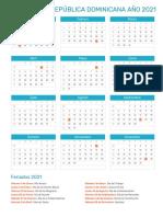 Calendario de República Dominicana Año 2021 _ Feriados