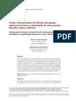 critica hermeneutica o direito - do quadro referencial teorico a articualçao de uma posição filosofica sobre o direito